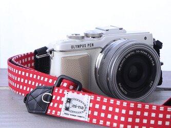 2,5㎝幅の長さを調節できるカメラストラップ/茜格子の画像