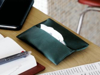 大人の本革ポケットティッシュケース【グリーン】 の画像