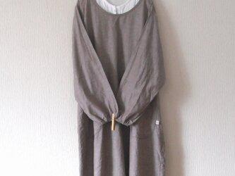 綿麻のかっぽう着 茶紫の画像
