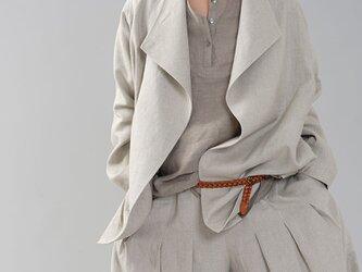 【wafu】中厚地 リネン ウイングカラー コート リネンアウター リネン羽織 トッパー/亜麻ナチュラル h039f-amn2の画像