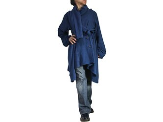 天然インディゴ染めジョムトン手織り綿のフローイングコート紐付き(JNN-096-03)の画像