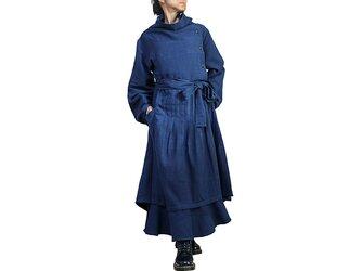 天然インディゴ染めジョムトン手織り綿のデザインドレス(DNN-102-03)の画像