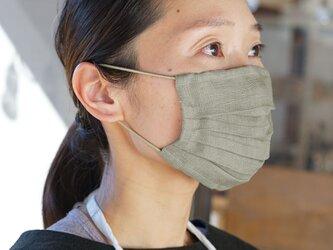 【wafu】【カシミヤベージュ・プリーツ】リネン マスク 夏マスク Wガーゼリネン100% 抗菌 防臭/z021a-csb2の画像
