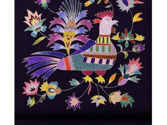 「鳥更紗模様」手描き友禅 染名古屋帯の画像