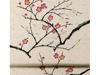 「紅白梅」手描き友禅 染名古屋帯の画像