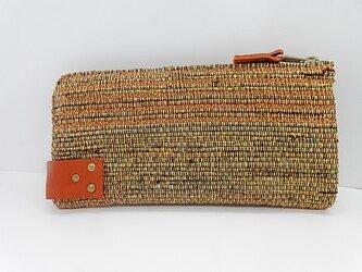 裂き織のL字型ファスナー長財布 オレンジの画像
