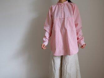 切り替え プルオーバーシャツ/2サイズ/コットン ロンドンストライプ【オフ白に赤】<受注制作>の画像