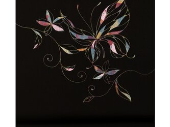 「蝶・色箔」手描き友禅 染名古屋帯の画像