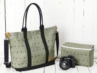 バッグinバッグ付き♪2way帆布カメラトートバッグ/レタリングカーキの画像