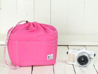 12ポケット付き☆カメラ用インナーバッグ/フューシャピンクの画像