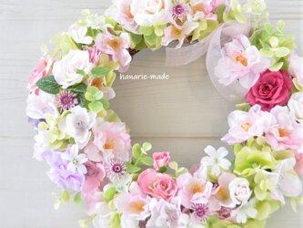 さくら と バラのリース ふんわりリボンをそえて:ピンク 白 ラベンダー の画像