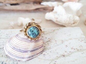 【13号 調節可】turquoise brass ringの画像
