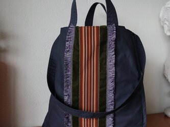 french ribbon 2way tote bag (navy)の画像