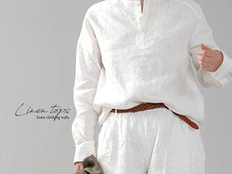 【wafu】男女兼用 中厚地 リネンシャツ ラグラントップス ラグランスリーブ/ホワイト t038e-wht2の画像