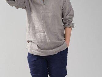 【wafu】男女兼用 中厚地 リネンシャツ ラグラントップス ラグランスリーブ/アッシュパール t038e-asp2の画像