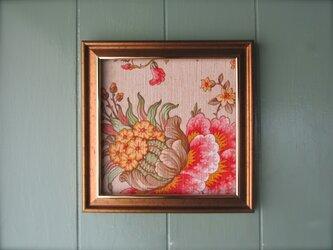 ヴィンテージ花柄 壁掛け額装パネル 正方形 bの画像