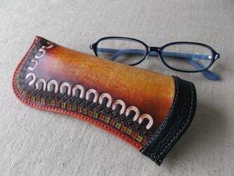 メガネケース レザー 刻印、拭き染め の画像