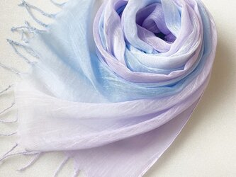 かろやかコットンシルク*空色×浅紫色*手染めのストールの画像