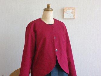 久留米絣の赤色ジャケットの画像