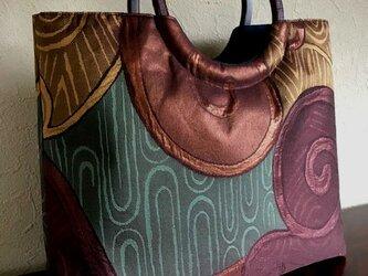 荒波、渦巻き模様 引箔袋帯の手提げの画像