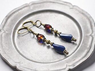 紺色ソレイユガラスとミックスカラーチェコビーズのピアスの画像