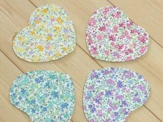 【4枚組】花柄 生成帆布  ハート型コースター【ばら売り可】の画像