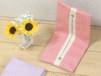 【受注製作】生成帆布 折りたたみ グレンチェック コーラルピンク  携帯ティッシュケースの画像