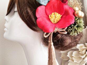 花雅 大きな江戸椿とマムの髪飾り6点Set No723 成人式 袴 色打掛の画像