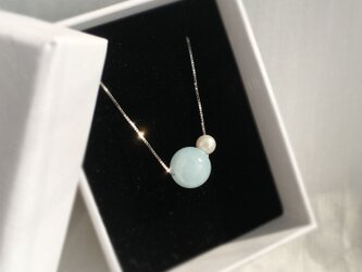 【SILVER】Natural Milky Aquamarine and Akoya Necklace〜March Birthの画像