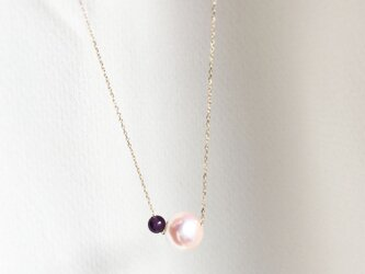 【SILVER】Natural Amethyst and Akoya Necklace〜February Birthの画像