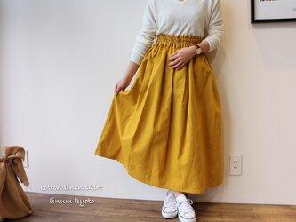 【Fサイズ】しっかりコットンリネンで魅せる、ウエストゴムのロングギャザースカート(綿麻マスタード)の画像