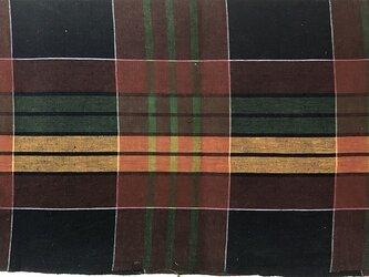 f0017古布・古裂 格子文様☆布団布の解き 一幅320cm☆しっかりした厚手木綿☆の画像