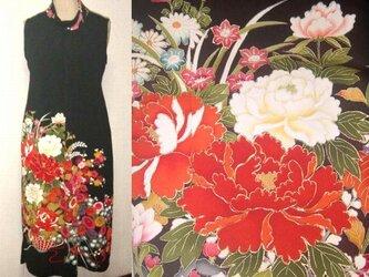 留袖リメイク♪牡丹の刺繍が豪華な留袖ハイネックワンピース・ボレロ付き♪ハンドメイドの画像