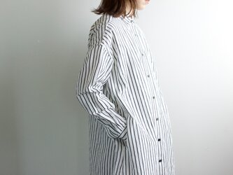 original cotton linen/ long shirt one piece/whiteの画像