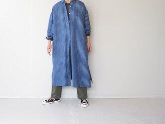 original cotton linen/ long shirt one piece/blueの画像