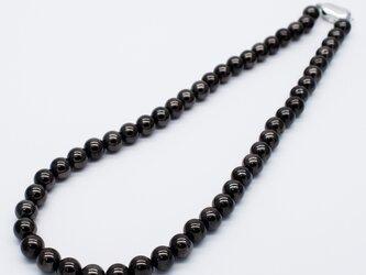 SV925 ブラック系ヘマタイトネックレス 8mm 天然石 パワーストーン 黒灰色 黒色 フォーマルの画像