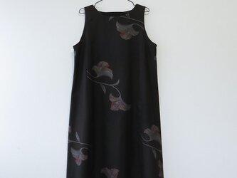 *アンティーク着物*葉模様泥大島紬のワンピース(9マルキ・Lサイズ)の画像