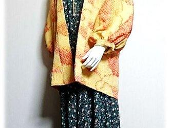 7*絞り羽織リメイクジャケット(イエロー×オレンジ)の画像