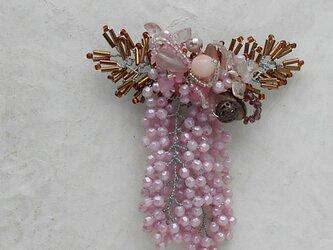 八重桜のコサージュブローチAの画像