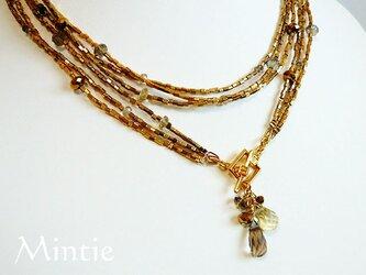 一点もの★本金ガラスビーズと天然石の3連ネックレス(カラークォーツ)の画像