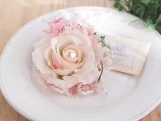 ふわふわシフォンローズのコサージュ 2Way☆*:ベビーピンク fluffy chiffon rose corsage pinkの画像