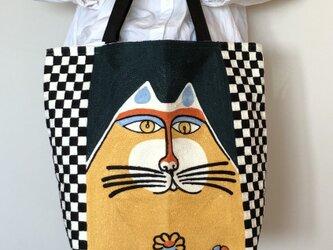 大きなトート 刺繍花と猫 受注製作の画像