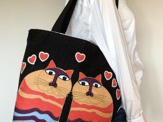 大きなトート 刺繍2ひきの猫 受注製作の画像