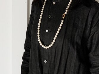 ★2WAY★パールビーズ・ロングネックレス&2連ネックレス(Gold/86cm/10mm round beads)の画像