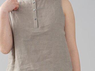 【wafu】薄地 雅亜麻 リネン インナー ヘンリーネック ノースリーブ ペチ ペチタンク/榛色  p011a-hbm1の画像