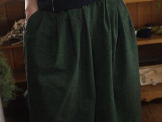 久留米絣スラッシュポケットのスカートパンツの画像
