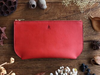 茜染のポーチ型長財布の画像