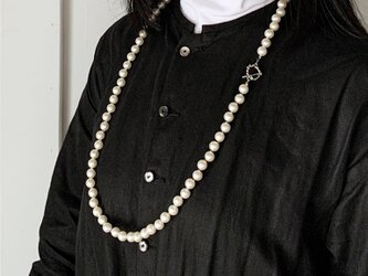 ★2WAY★パールビーズ・ロングネックレス&2連ネックレス(Silver/86cm/10mm round beads)の画像