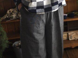 久留米絣スタンドカラーのトップスの画像