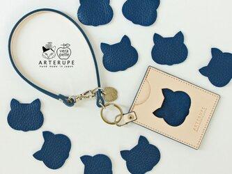 猫のパスケース・Gattina Pass インディゴの画像